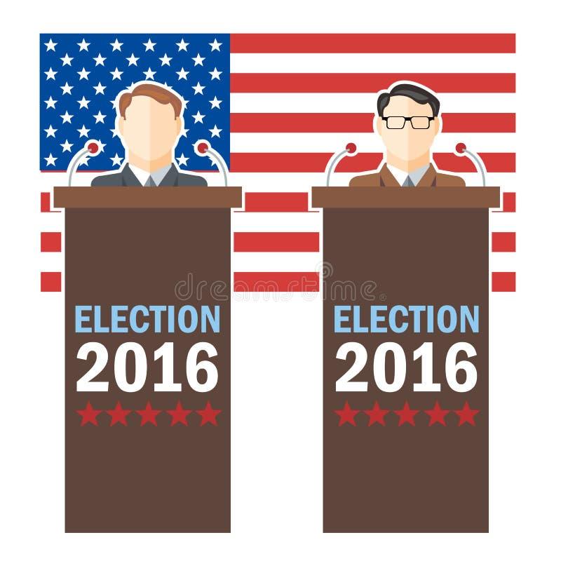 Carte 2016 d'élection des Etats-Unis avec le drapeau de pays et caractère de candidats à la tribune illustration de vecteur