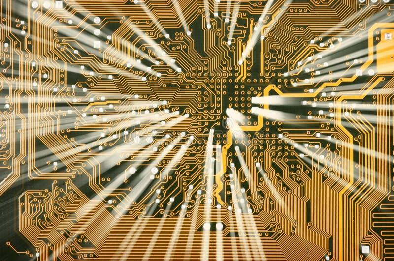 Carte d'or électronique avec l'éclat images libres de droits