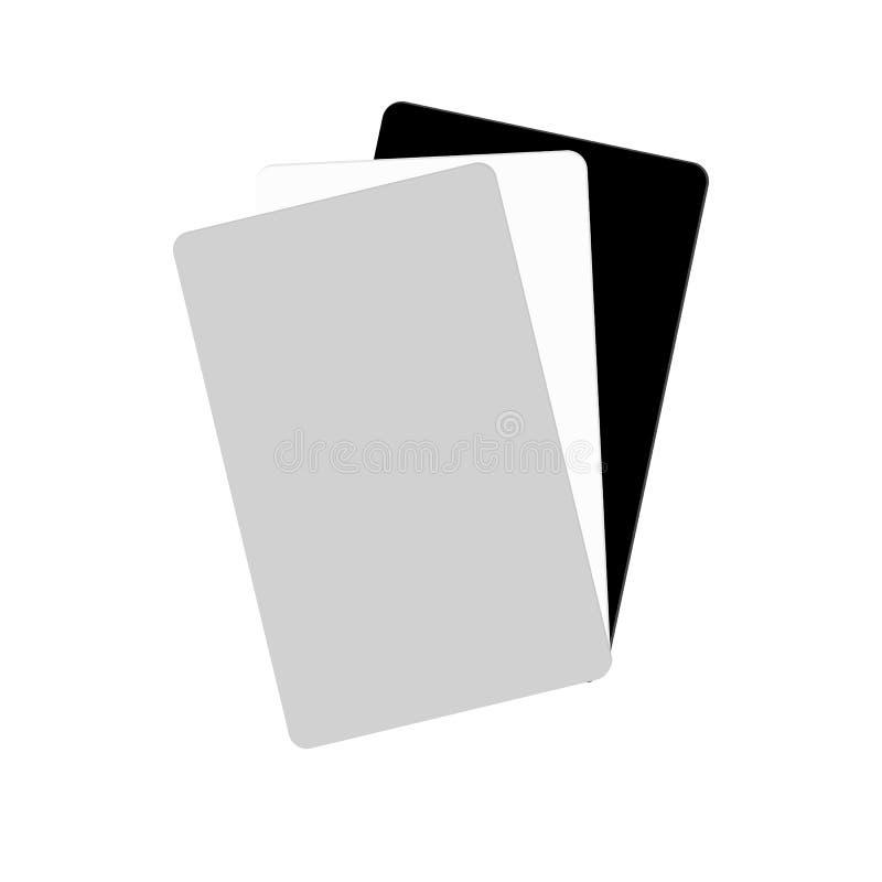 Carte d'équilibre blanche échantillon gris de carte de 18 pour cent illustration de vecteur