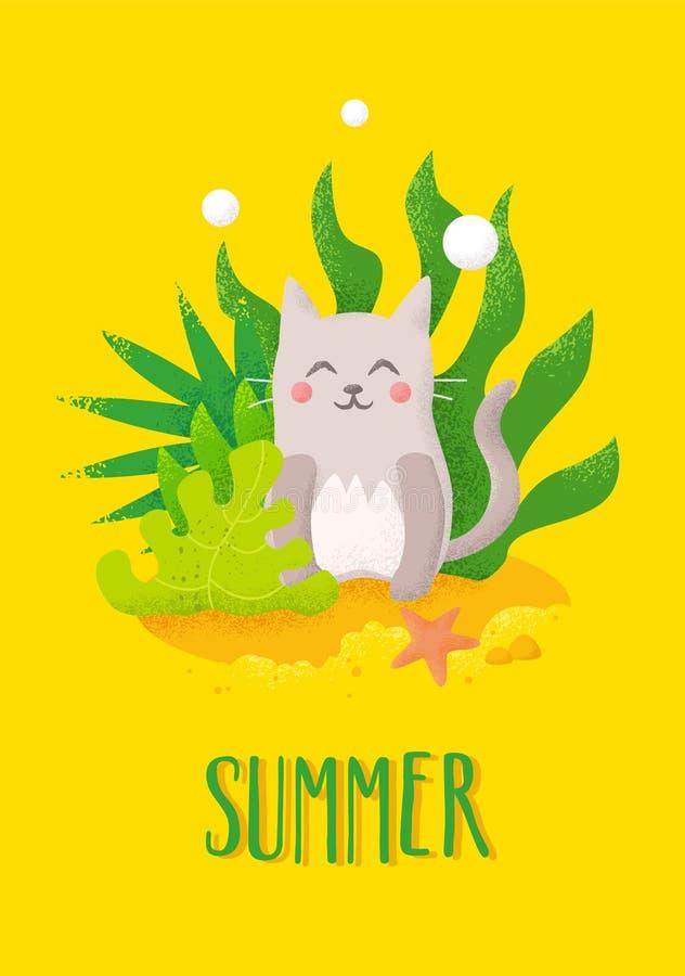 Carte d'été avec le chat et les plantes tropicales de bande dessinée sur le fond de plage Drapeau de vecteur illustration de vecteur