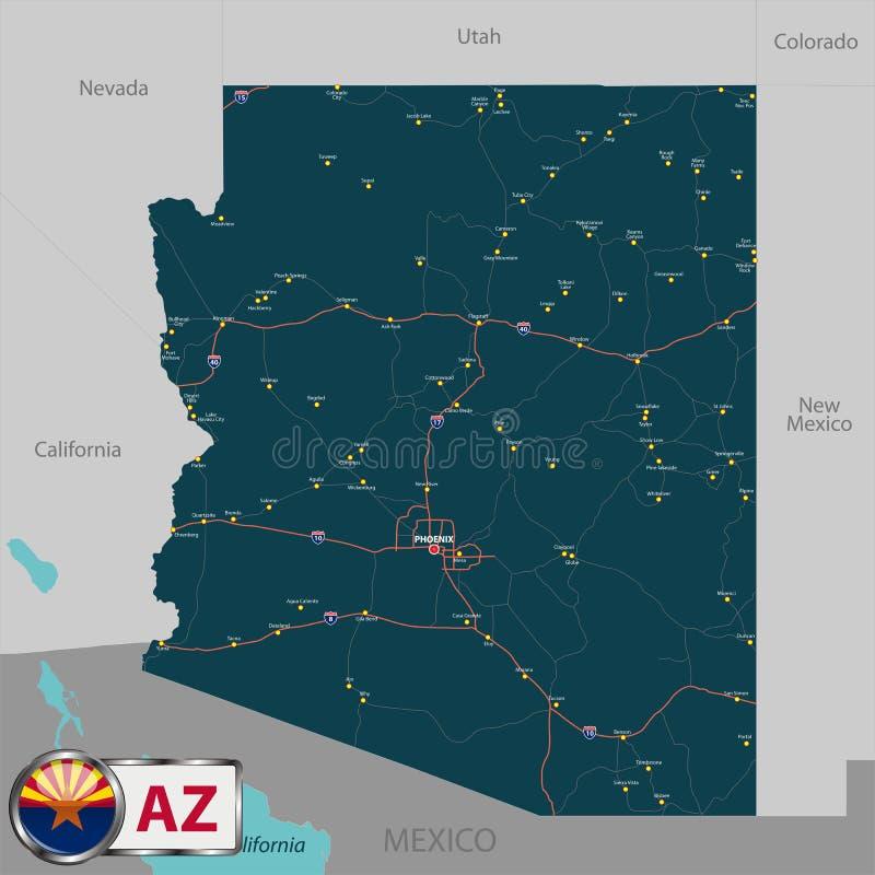 Carte d'état Arizona, Etats-Unis illustration stock