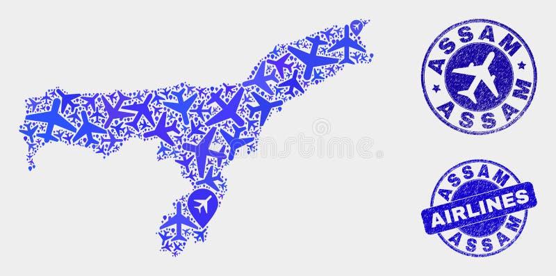 Carte d'état d'Assam de vecteur de mosaïque d'avion et joints grunges illustration de vecteur
