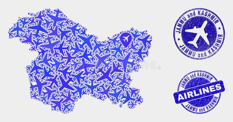 Carte d'état de Jammu-et-Cachemire de vecteur de mosaïque d'aviation et timbres grunges illustration de vecteur
