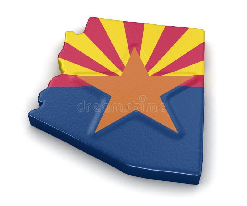 Carte d'état de l'Arizona avec le drapeau illustration de vecteur