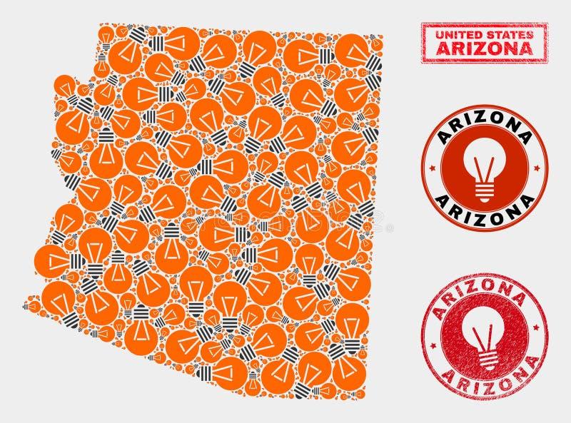 Carte d'état de l'Arizona de collage d'ampoule et joints texturisés de timbre illustration stock