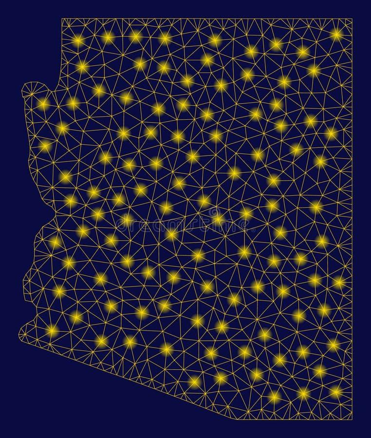 Carte d'état de l'Arizona de maille jaune 2D avec les taches instantanées illustration de vecteur