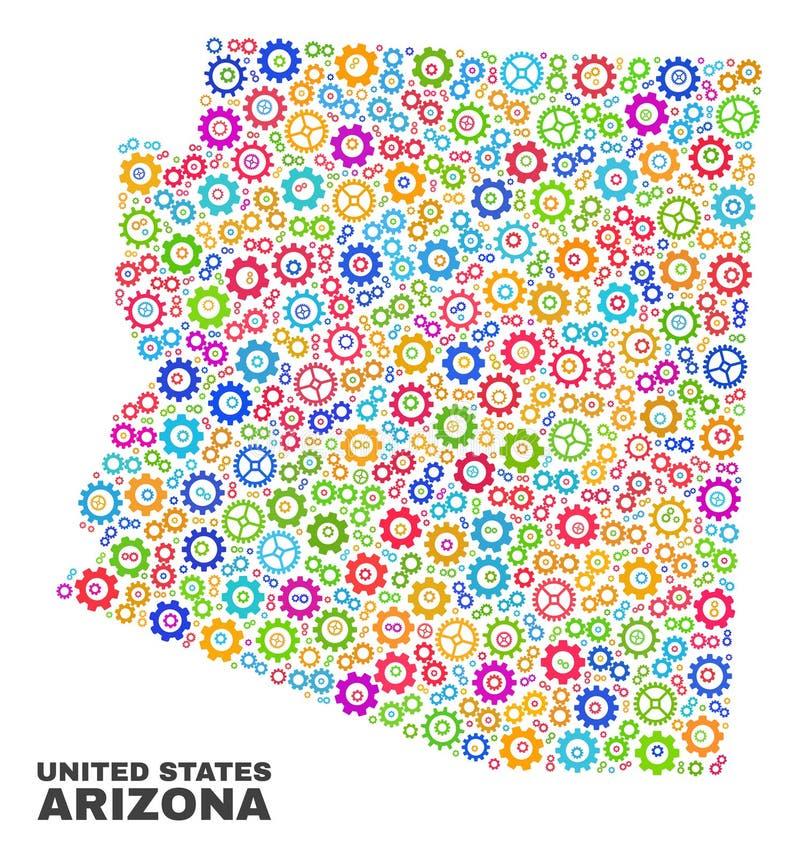 Carte d'état de l'Arizona de mosaïque des éléments de roue dentée illustration libre de droits