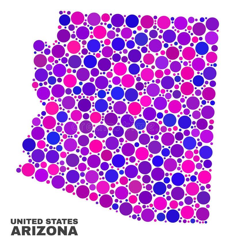 Carte d'état de l'Arizona de mosaïque des articles ronds illustration libre de droits