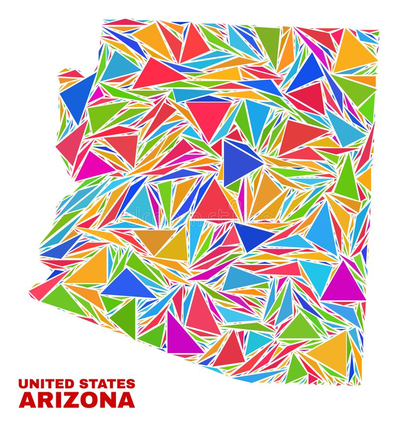 Carte d'état de l'Arizona - mosaïque des triangles de couleur illustration libre de droits