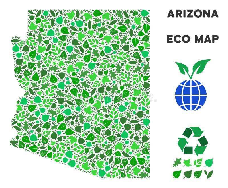 Carte d'état de l'Arizona de mosaïque de vert de feuille de vecteur illustration de vecteur