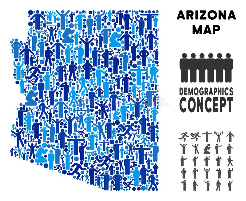 Carte d'état de l'Arizona de personnes illustration de vecteur