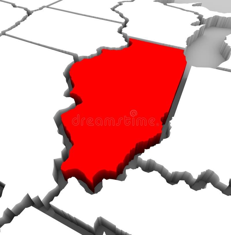 Carte d'état de l'Illinois - illustration 3d illustration libre de droits