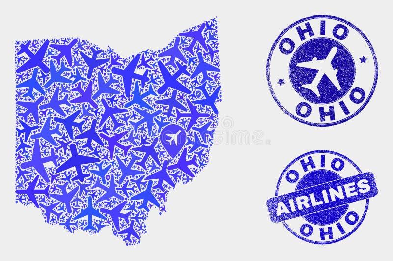 Carte d'état de l'Ohio de vecteur de mosaïque de ligne aérienne et timbres grunges illustration libre de droits