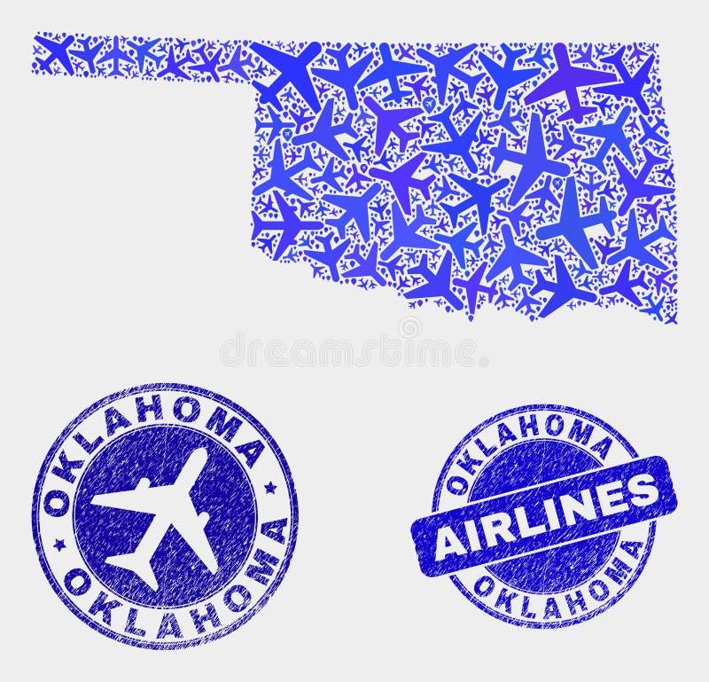 Carte d'état de l'Oklahoma de vecteur de collage de lignes aériennes et joints grunges illustration de vecteur