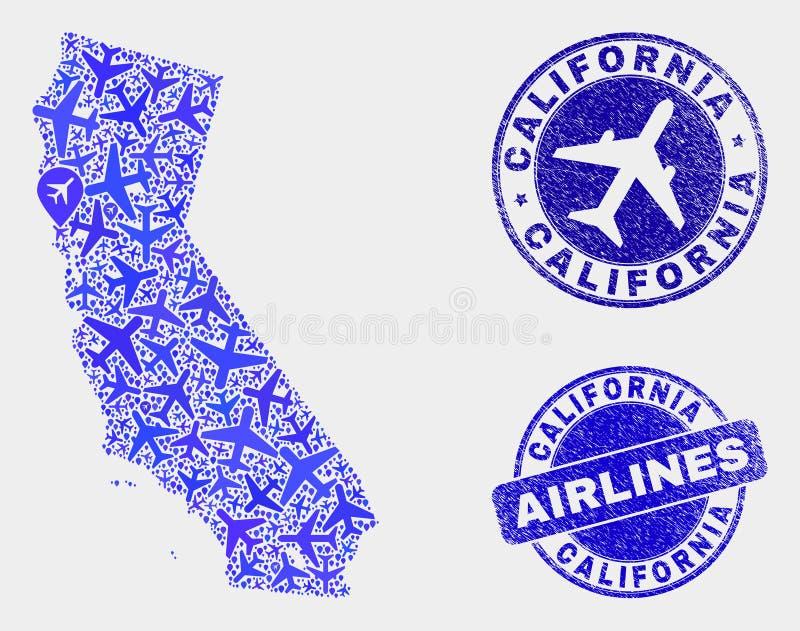 Carte d'état de la Californie de vecteur de mosaïque d'avion et joints grunges illustration de vecteur