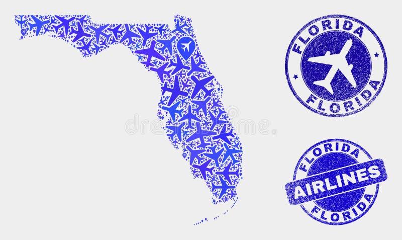 Carte d'état de la Floride de vecteur de mosaïque de lignes aériennes et joints grunges illustration de vecteur