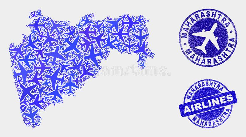 Carte d'état de maharashtra de vecteur de composition en aviation et timbres grunges illustration libre de droits