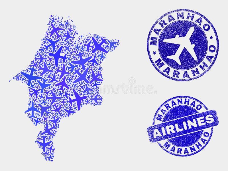 Carte d'état de Maranhao de vecteur de composition en avion d'air et joints grunges illustration libre de droits