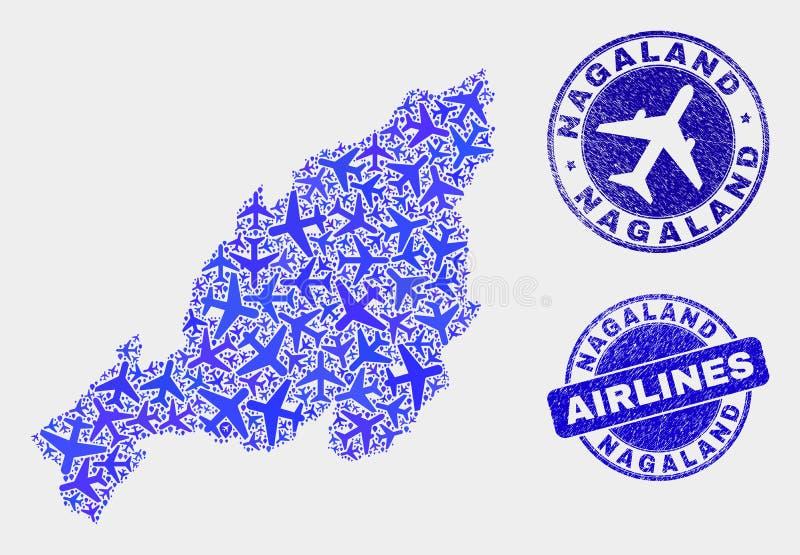 Carte d'état de Nagaland de vecteur de composition en lignes aériennes et timbres grunges illustration libre de droits