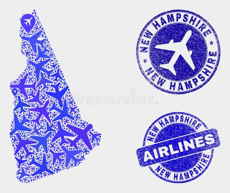 Carte d'état de New Hampshire de vecteur de collage d'avions et joints grunges illustration libre de droits