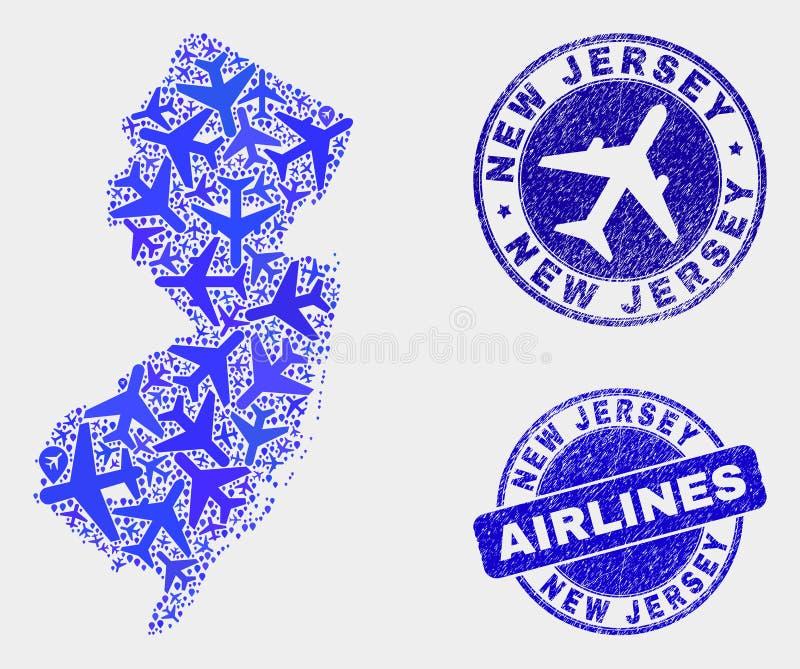 Carte d'état de New Jersey de vecteur de collage de lignes aériennes et timbres grunges illustration libre de droits