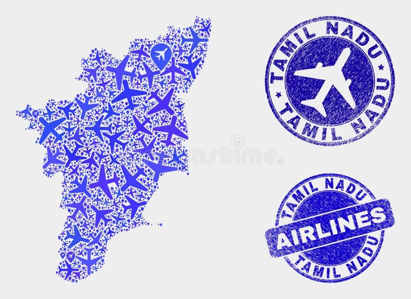 Carte d'état de Tamil Nadu de vecteur de composition en lignes aériennes et timbres grunges illustration stock