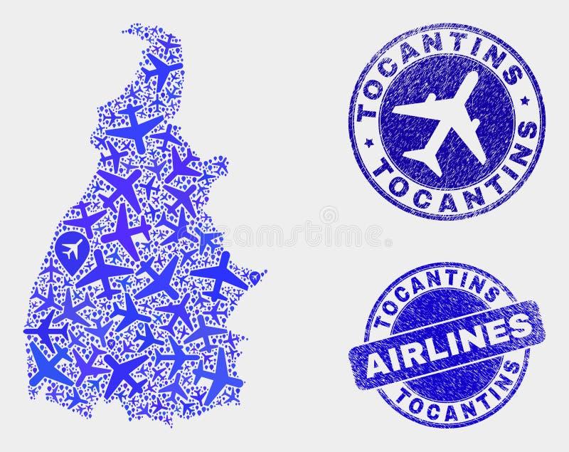 Carte d'état de Tocantins de vecteur de composition en lignes aériennes et joints grunges illustration libre de droits