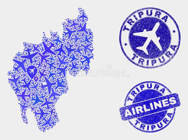 Carte d'état de Tripura de vecteur de collage d'aviation et joints grunges illustration libre de droits