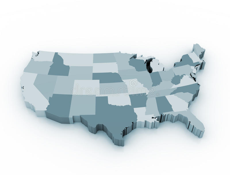 Carte d'état des USA 3D illustration stock