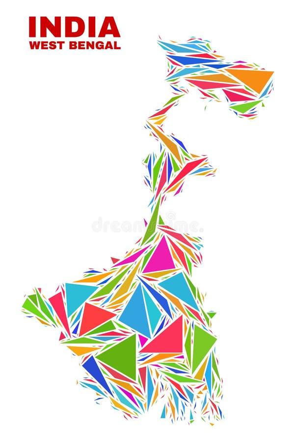Carte d'état du Bengale-Occidental - mosaïque des triangles de couleur illustration stock