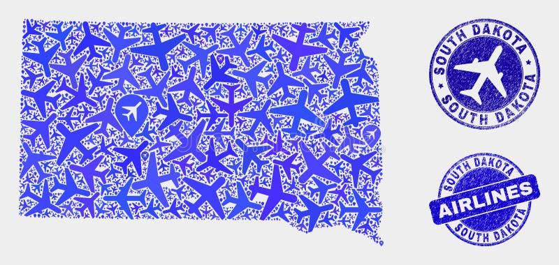 Carte d'état du Dakota du Sud de vecteur de collage d'avions et joints grunges illustration de vecteur