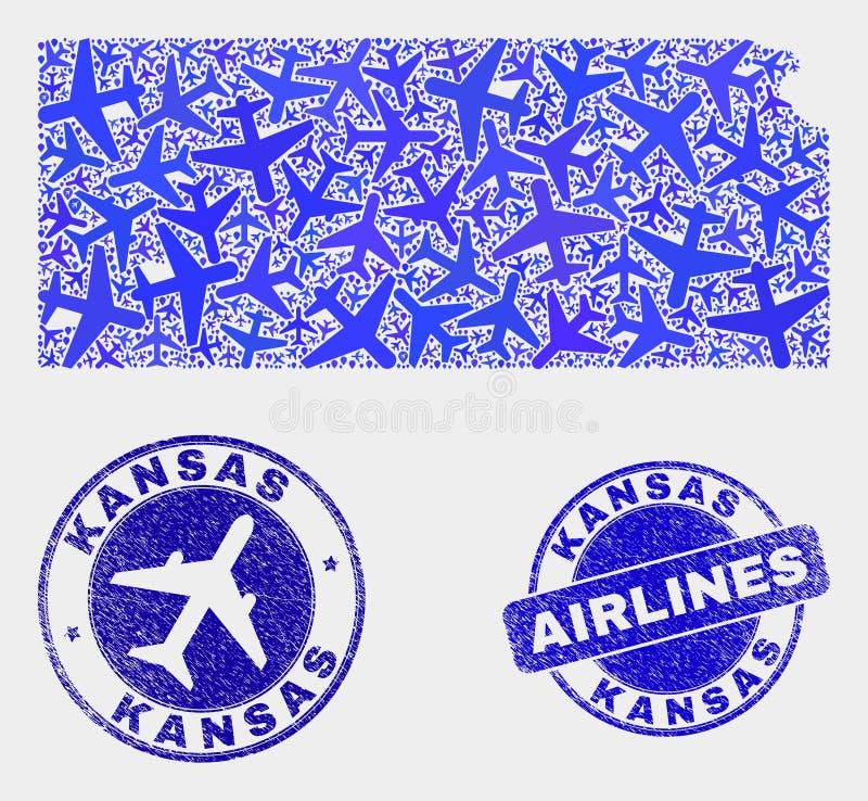 Carte d'état du Kansas de vecteur de composition en avion et joints grunges illustration libre de droits
