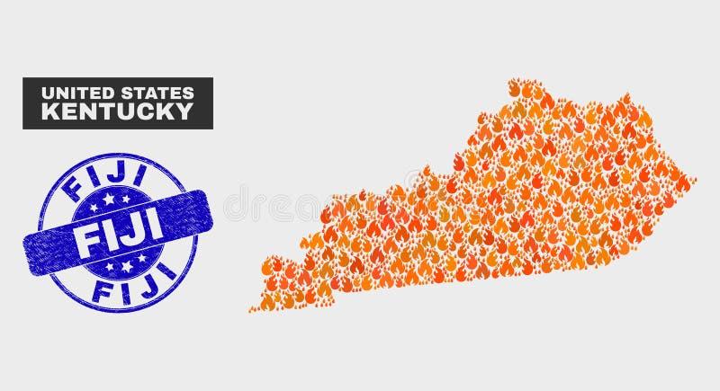 Carte d'état du Kentucky de mosaïque de brûlure et joint des Fidji de détresse illustration stock