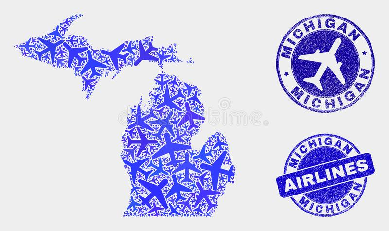 Carte d'État du Michigan de vecteur de mosaïque de ligne aérienne et joints grunges illustration de vecteur