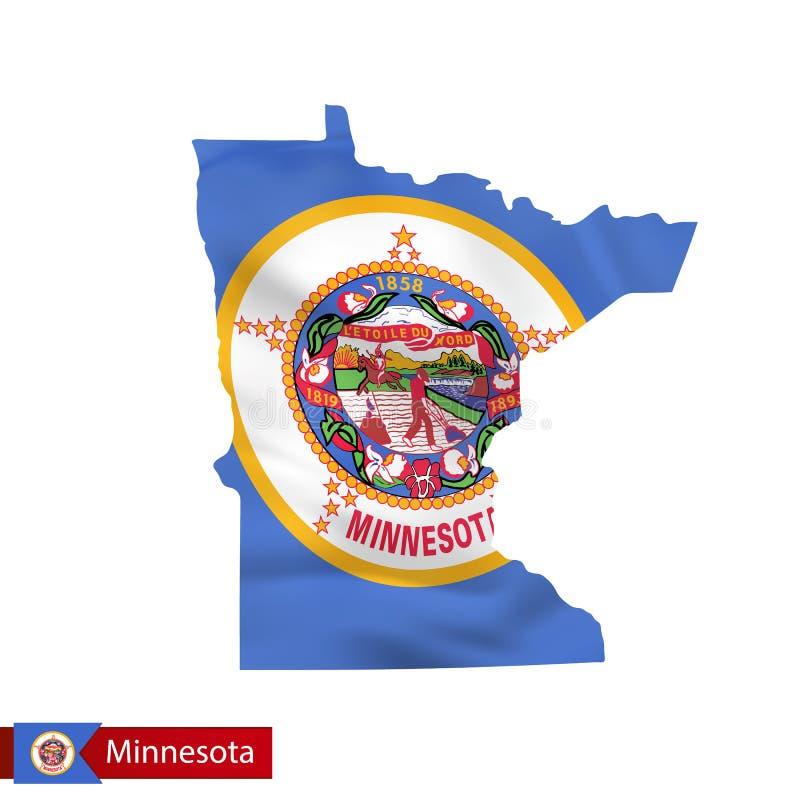 Carte d'état du Minnesota avec le drapeau de ondulation de l'état d'USA illustration stock