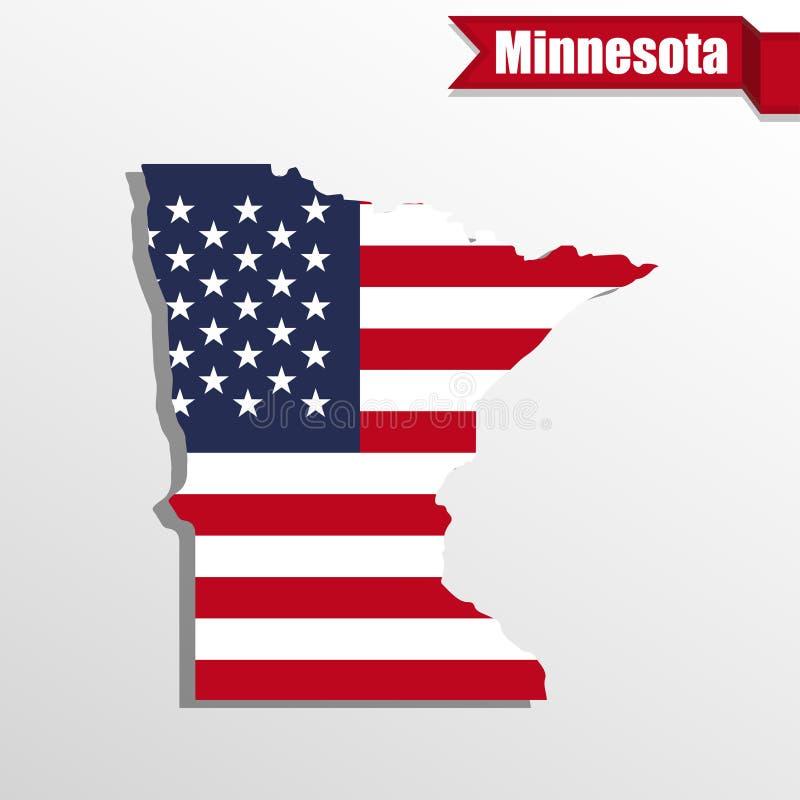 Carte d'état du Minnesota avec le drapeau des USA intérieur et le ruban illustration stock