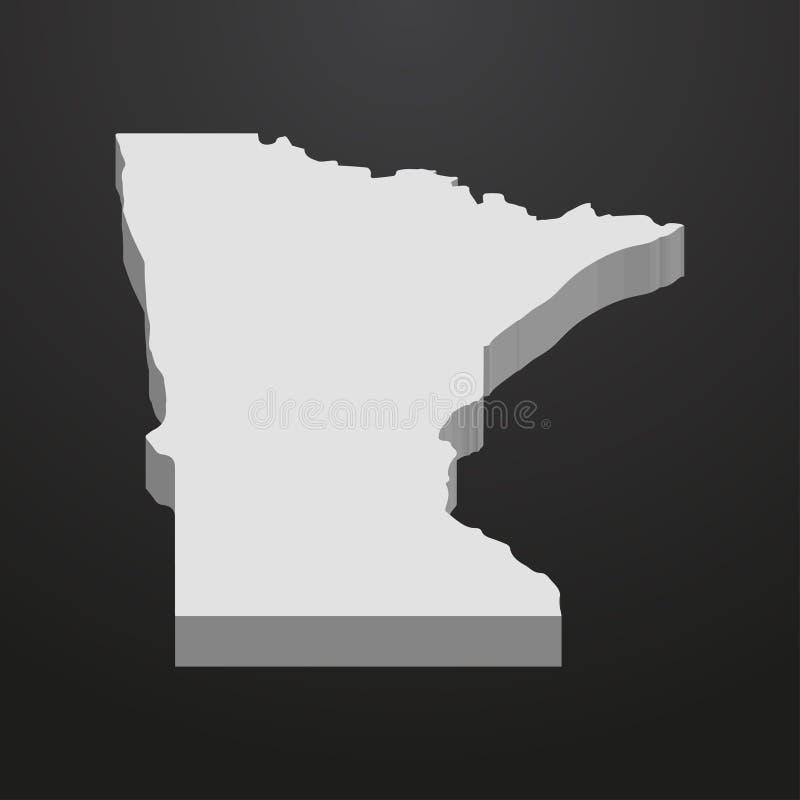Carte d'état du Minnesota dans le gris sur un fond noir 3d illustration libre de droits