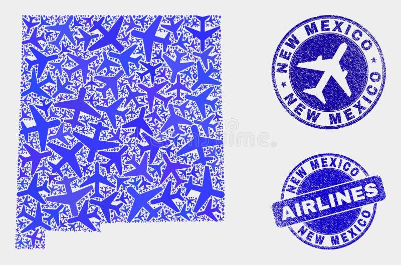 Carte d'état du Nouveau Mexique de vecteur de composition en avion d'air et timbres grunges illustration stock