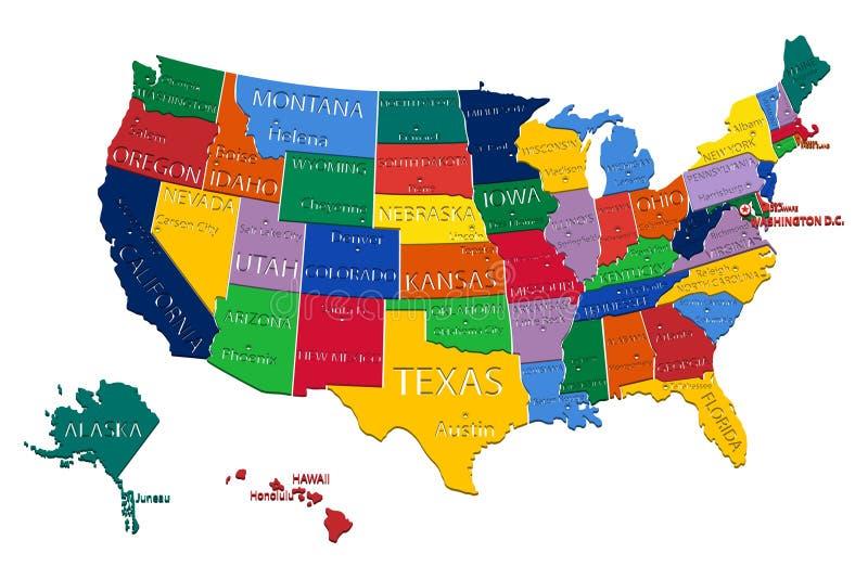 carte d'états des Etats-Unis images libres de droits