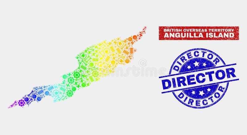 Carte d'île d'Anguilla d'usine de spectre et directeur Stamps de détresse illustration de vecteur