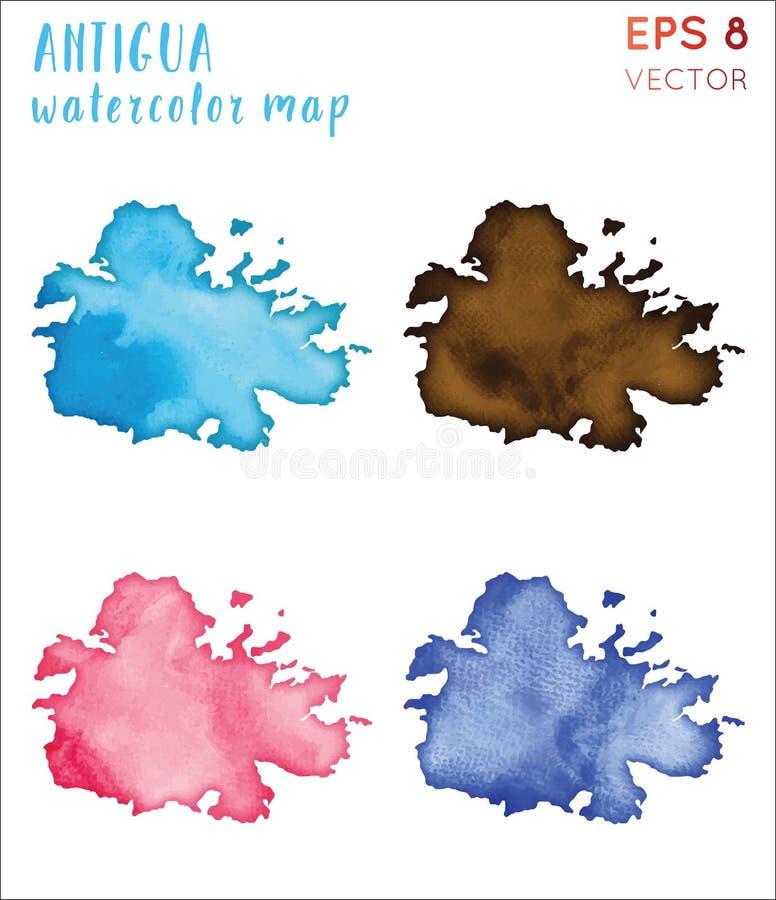 Carte d'île d'aquarelle de l'Antigua illustration stock