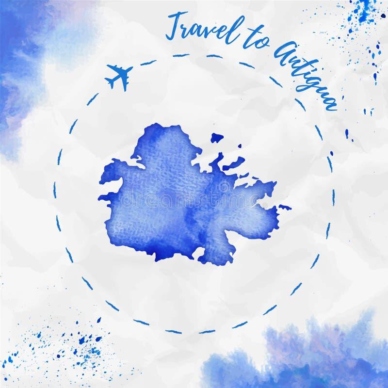 Carte d'île d'aquarelle de l'Antigua dans des couleurs bleues illustration libre de droits