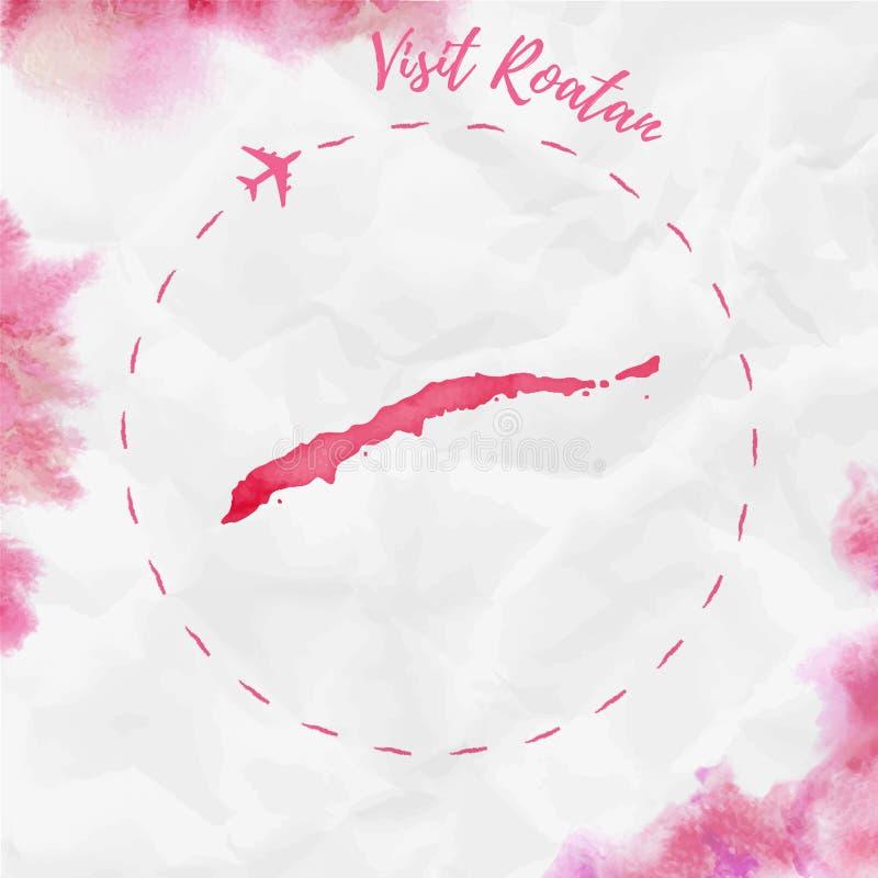Carte d'île d'aquarelle de Roatan dans des couleurs rouges illustration de vecteur