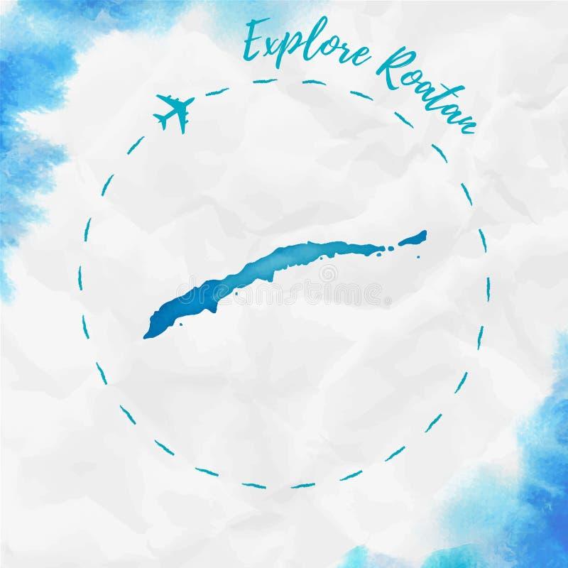 Carte d'île d'aquarelle de Roatan dans des couleurs de turquoise illustration libre de droits
