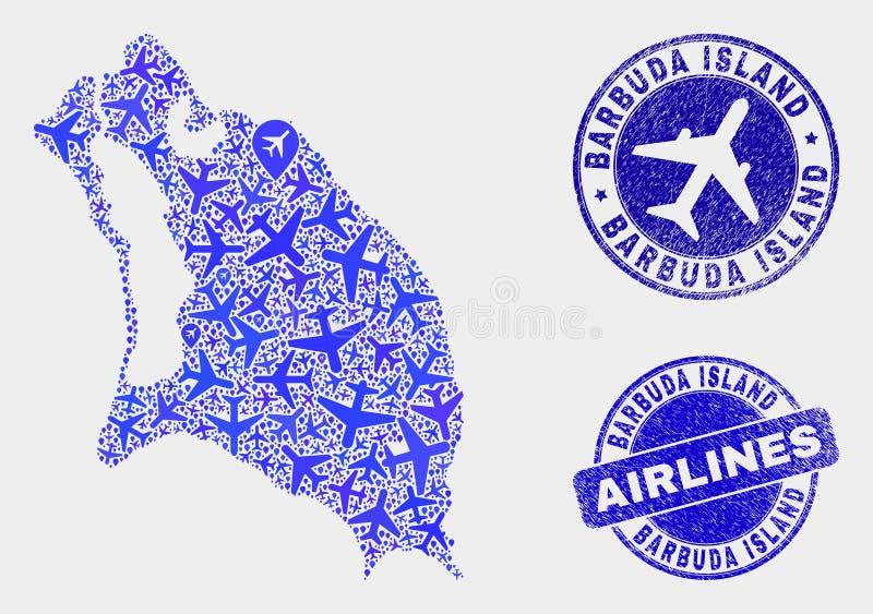 Carte d'île de Barbuda de vecteur de mosaïque d'avion et timbres grunges illustration de vecteur