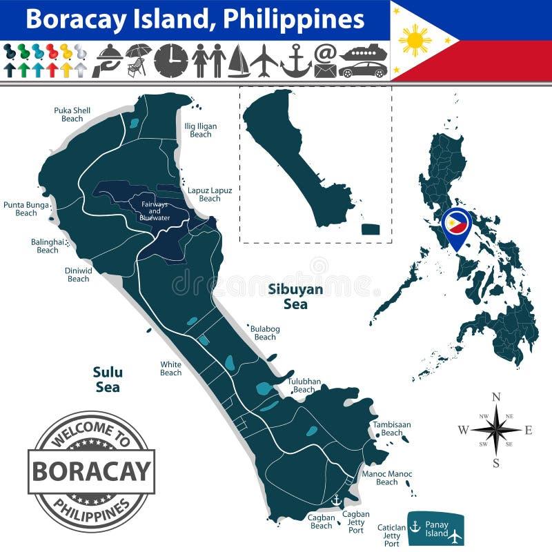 Carte d'île de Boracay, Philippines illustration de vecteur