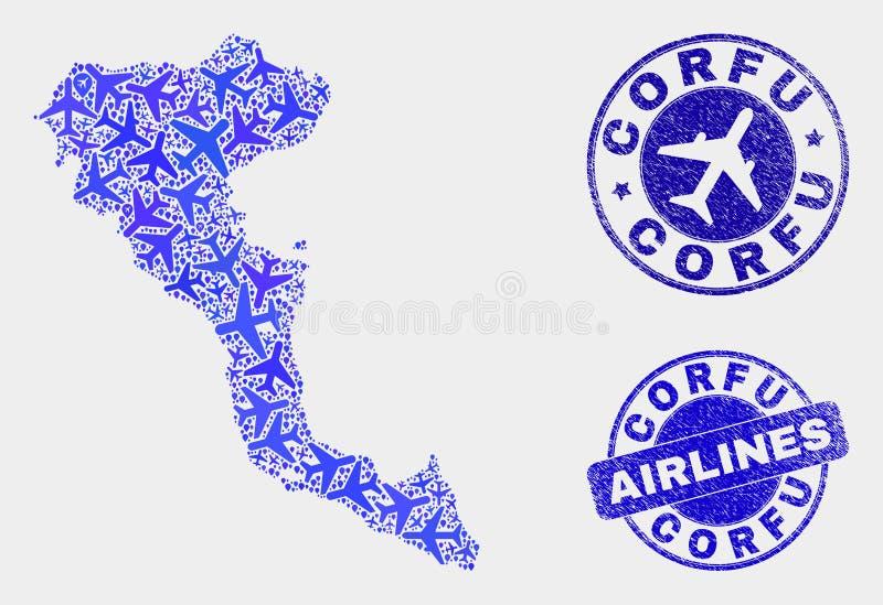 Carte d'île de Corfou de vecteur de mosaïque d'avion et joints grunges illustration de vecteur
