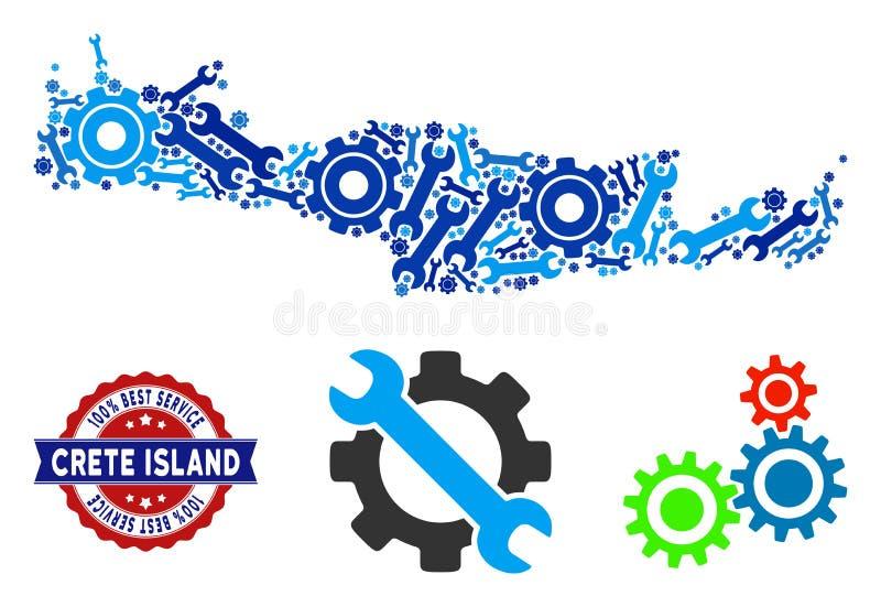 Carte d'île de Crète de composition des outils de service illustration de vecteur