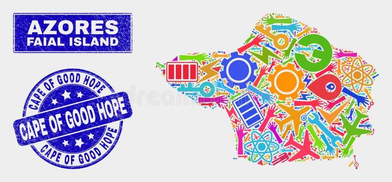 Carte d'île de Faial de technologie de mosaïque et filigrane grunge du Cap de Bonne-Espérance illustration stock