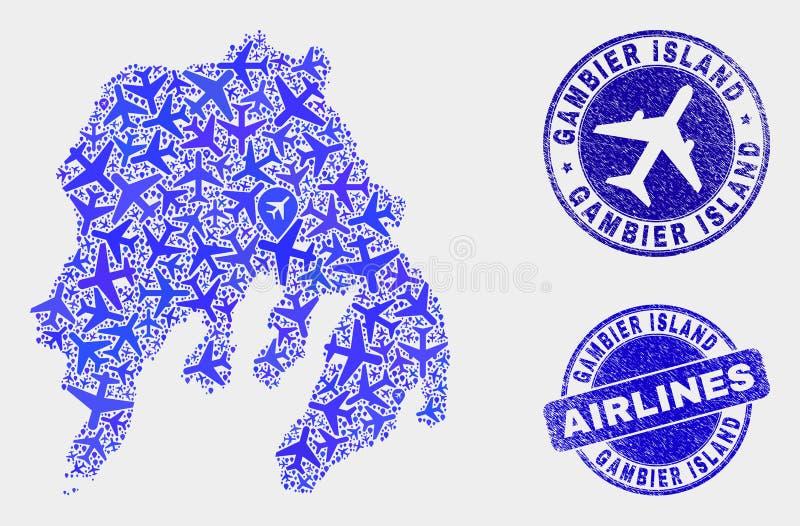 Carte d'île de Gambier de vecteur de composition en avion et timbres grunges illustration stock